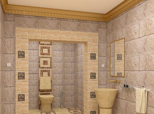 Вот, кстати, тоже примеры египетского стиля в интерьере.  Туалет.